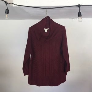 White House Black Market Maroon knit sweater top